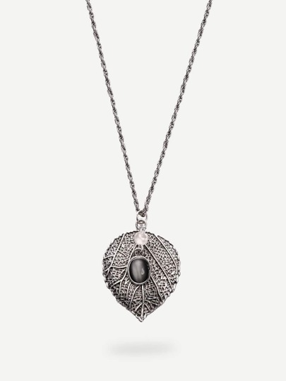 Cymophanite Leaf-shaped Pendant Necklace