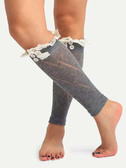 Grey Lace Knitted Socks