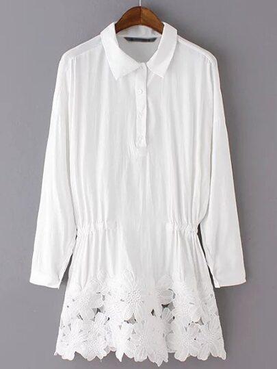 White Lapel Buttons Elastic Waist Dress