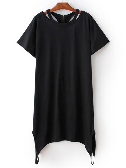 Black Round Neck Zipper Back Dress