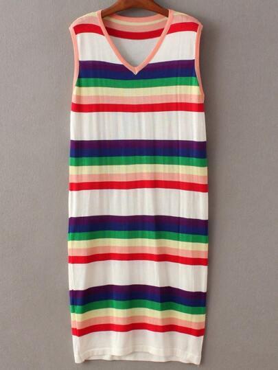 Multicolor Sleeveless V Neck Stripe Dress
