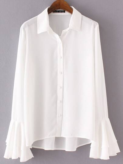 White Lapel Bell Sleeve Buttons Blouse