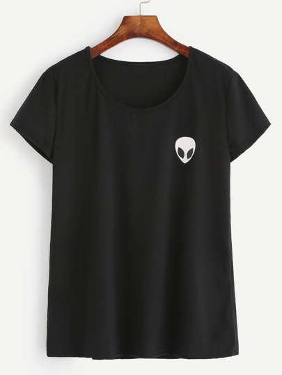 Black Alien Print T-shirt