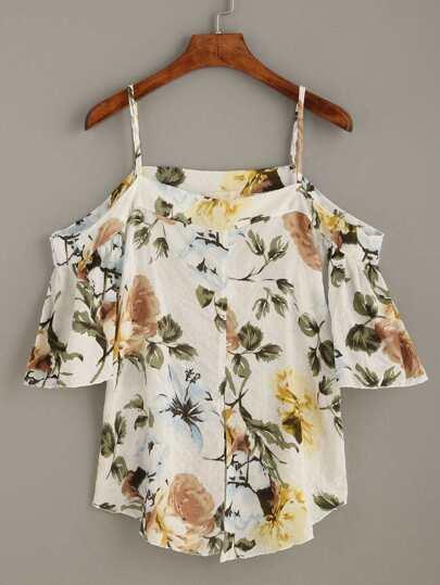 White Flower Print Cold Shoulder Blouse