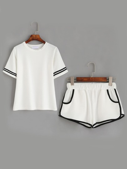 White Striped Trim Top With Contrast Trim Pockets Shorts
