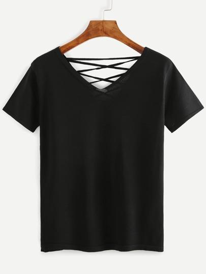 Black Lace Up T-shirt