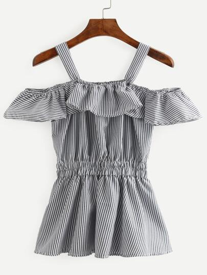 Grey Vertical Striped Ruffled Cold Shoulder Blouse