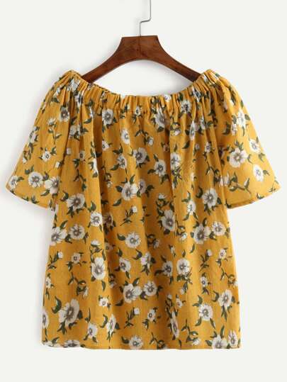 Yellow Flower Print Off The Shoulder Blouse