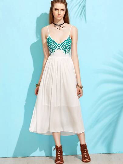 White Branch Leaf Embroidered Tie Back Cami Dress