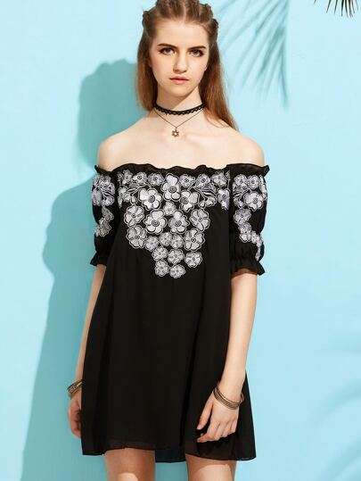Black Embroidered Ruffle Off The Shoulder Dress
