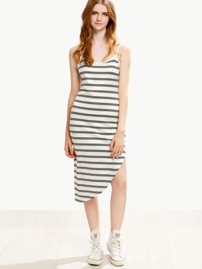 White Striped Asymmetric Cami Dress