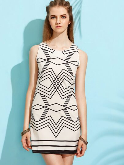 White Geometric Print Sheath Dress