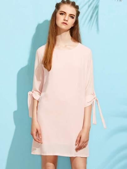 Pink Tie Sleeve Chiffon Dress