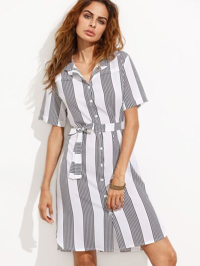 White Vertical Striped Self Tie Shirt Dress
