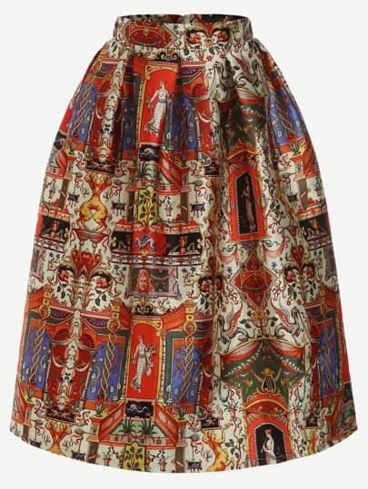 Multicolor Vintage Print Box Pleated Skirt