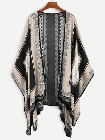 Kimono étnico estampado - negro