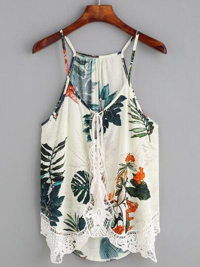 Beige Tropical Print Crochet Insert Cami Top