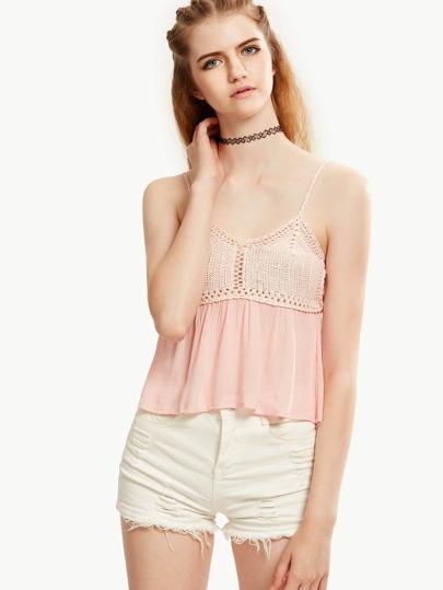 Pink Crochet Bust Crinkle Cami Top