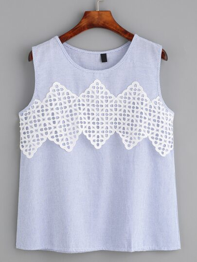 Blue Striped Crochet Applique Top