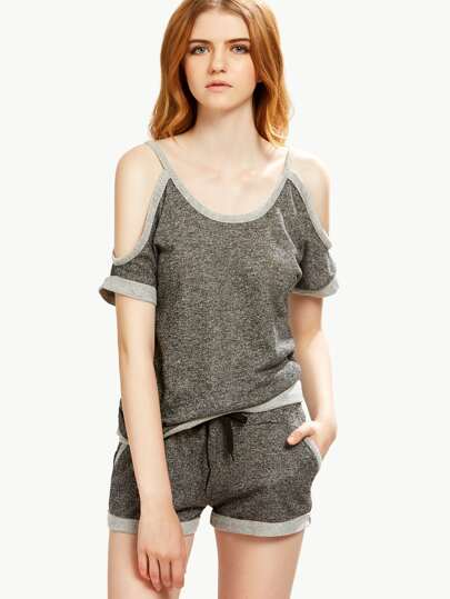 Green Marled Knit Cold Shoulder Top With Shorts