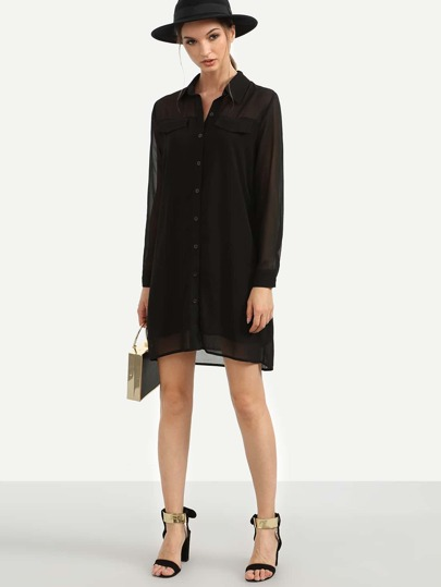 Black Sheer Long Sleeve Chiffon Shirt Dress
