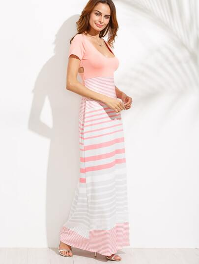 Pink Striped Scoop Neck Cut Out Dress