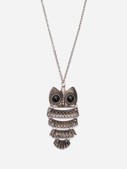 Vintage Owl-shaped Pendant Necklace