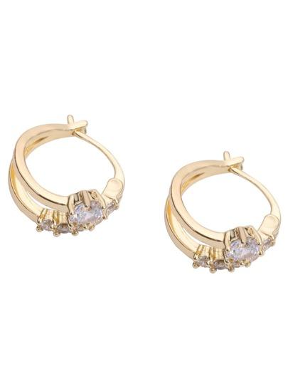 Golden Zircon Geometric Earrings