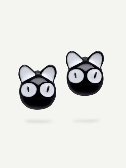 Boucles d'oreille motif chat