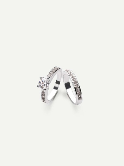 Silver Zircon Couple Rings