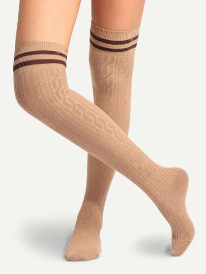 Khaki Breathable Striped Trim Over Knee Socks