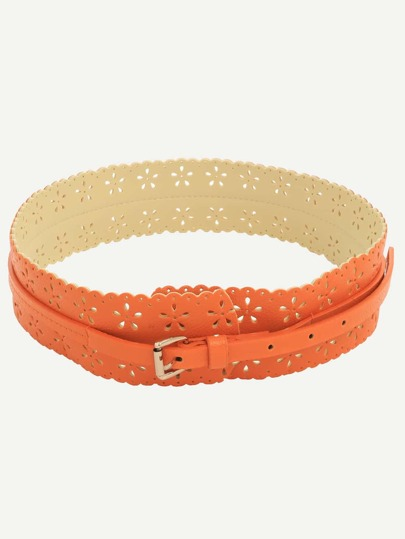 Orange Hollow Flower Wide Belt