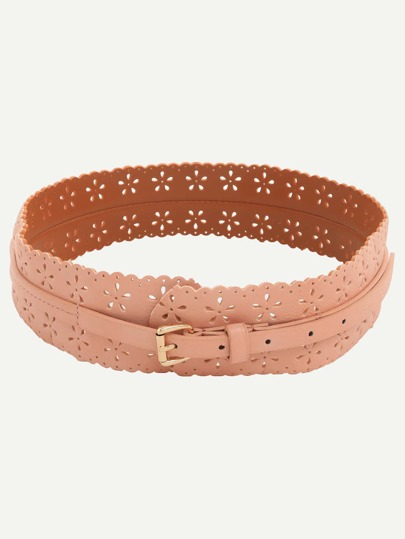 Hollow Flower Buckle Wide Belt