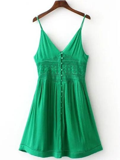 Green V Neck Spaghetti Strap Buttons Dress
