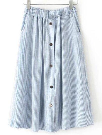 Blue Elastic Waist Button Stripe Pleated Skirt