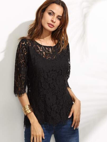 Black Half Sleeve Lace Blouse With Cami Top
