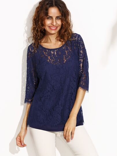 Navy Half Sleeve Lace Blouse With Cami Top