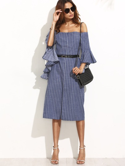 Blue Striped Split Ruffle Sleeve Off The Shoulder Dress