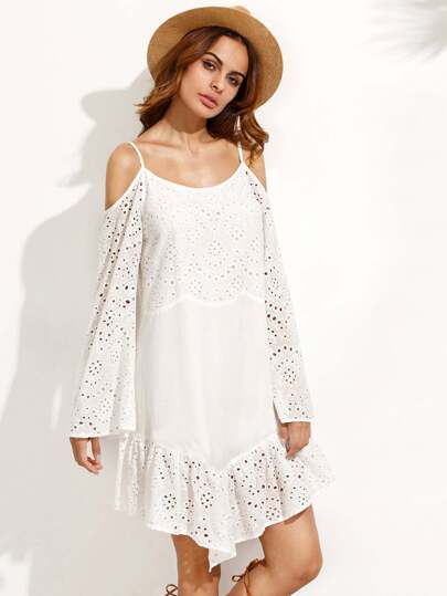 White Cold Shoulder Ruffle Hem Bell Sleeve Dress