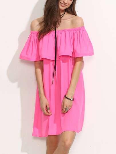 Hot Pink Ruffle Off The Shoulder Shift Dress