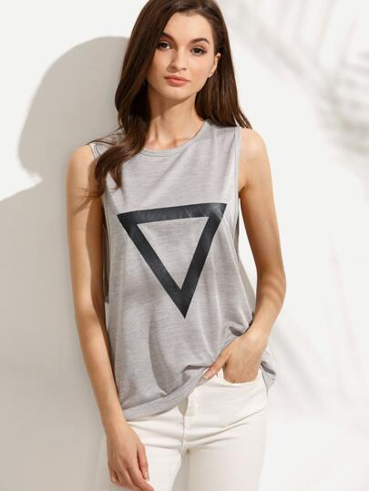 Grey Triangle Print Drop Armhole Sleeveless T-shirt