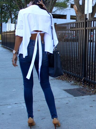 White Long Sleeve Bow Tie Back Asymmetrical Blouse