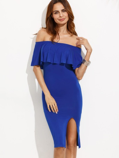 Royal Blue Ruffle Off The Shoulder Split Sheath Dress