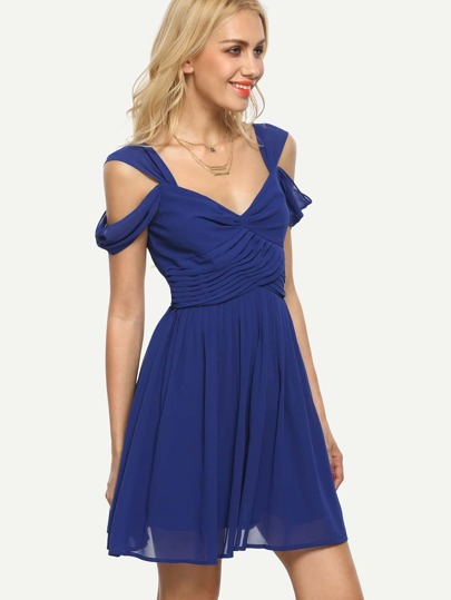 Royal Blue Backless Cold Shoulder Dress