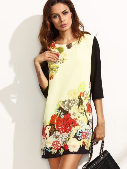 Color Block Floral Three Quarter Sleeve Dress