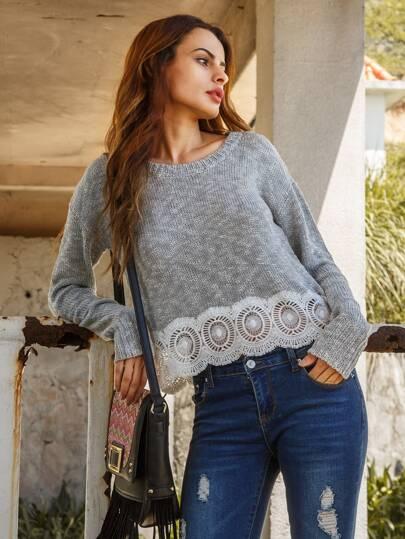 Aushölen Pullover Drop Schulter  Kontrast Häkeln