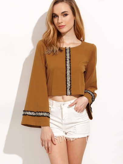 Brown Bell Sleeve T-shirt