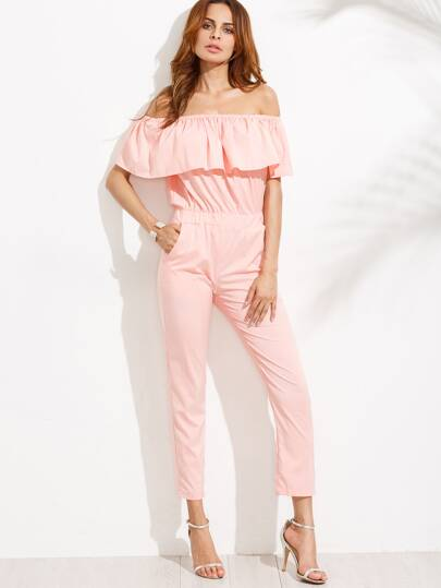 Pink Off The Shoulder Ruffle Jumpsuit