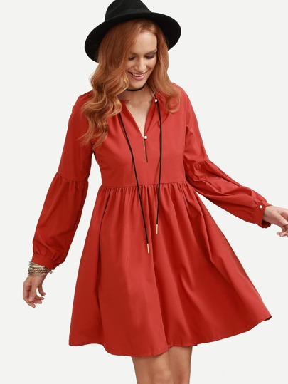 Red Long Puff Sleeve Flare Dress
