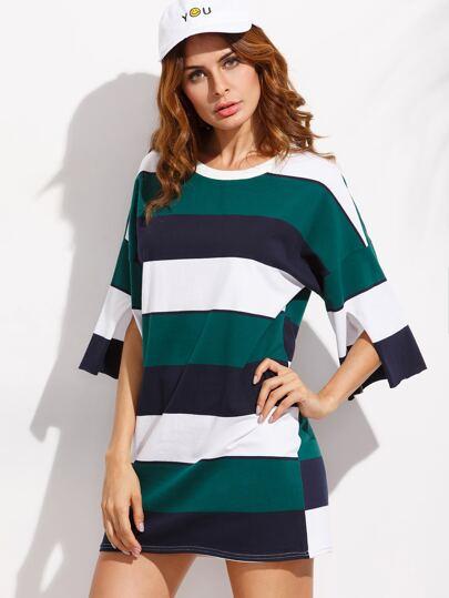 Color Block Drop Shoulder Slit Sleeve T-shirt Dress
